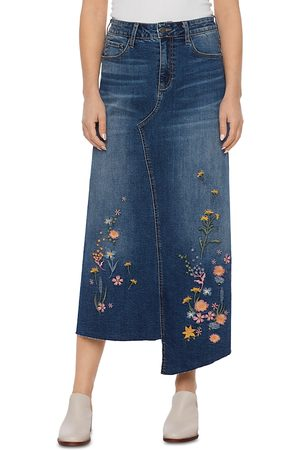 Billy T Women Denim Skirts - Embroidered Denim Asymmetric Skirt