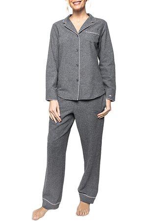 Petite Plume Women Nightdresses & Shirts - Cotton Grey Flannel Pajama Set