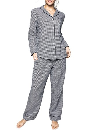 Petite Plume Cotton West End Houndstooth Flannel Pajama Set