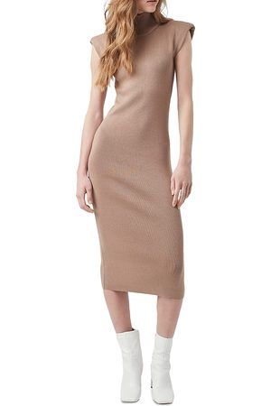 French Connection Women Bodycon Dresses - Fitted Shoulder Pad Midi Dress