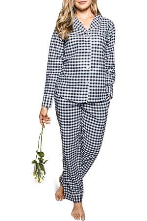 Petite Plume Women Nightdresses & Shirts - Cotton Gingham Flannel Pajama Set