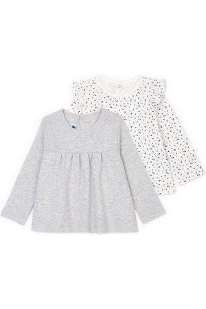 Petit Bateau 2-Pack Gray Ruffle Detail T-Shirt - 6 months - - Blouses