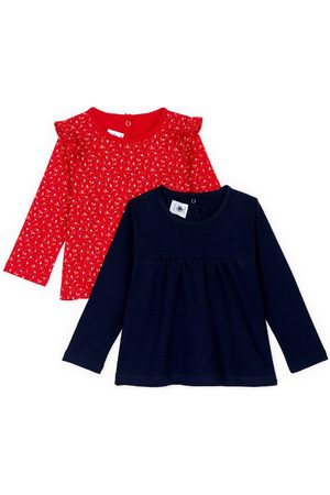 Petit Bateau 2-Pack Red Ruffle Detail T-Shirt - 6 months - Grey - Blouses