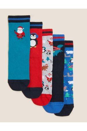5pk Cotton Christmas Socks