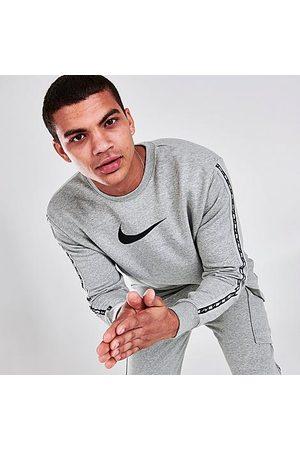 Nike Men's Sportswear Repeat Fleece Crewneck Sweatshirt in Grey/Dark Grey Heather Size X-Small Cotton/Polyester/Fleece