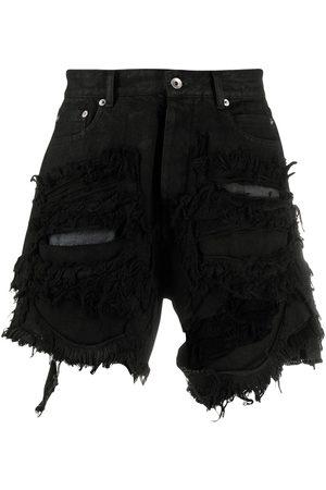 Rick Owens Men Shorts - Trucker ripped denim shorts