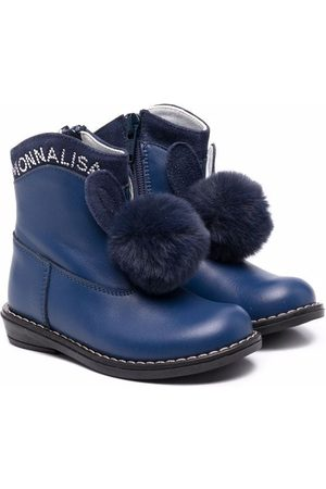 MONNALISA Rain Boots - Pompom-bunny leather boots