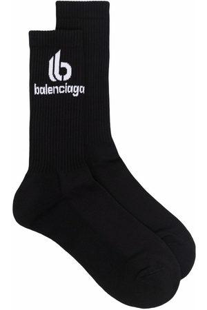 Balenciaga Men Socks - Logo-print ribbed socks