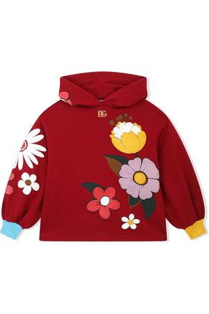 Dolce & Gabbana Girls Hoodies - Floral-print cotton hoodie