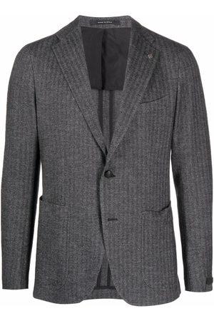 TAGLIATORE Stripe-print single-breasted blazer - Grey