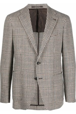 TAGLIATORE Check-print wool blazer - Neutrals