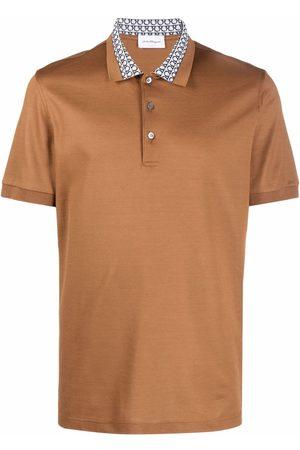 Salvatore Ferragamo Men Polo Shirts - Monogram-collar polo shirt