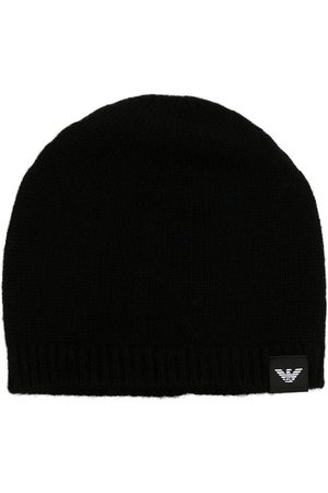 Emporio Armani Men Beanies - Logo-patch knitted beanie