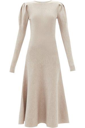 GABRIELA HEARST Women Dresses - Hannah Puffed-sleeve Wool-blend Dress - Womens - Light