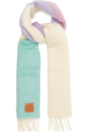 Loewe Women Scarves - Anagram-patch Colour-block Mohair-blend Scarf - Womens - Multi