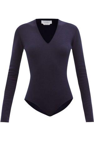 Gabriela Hearst Jasmine Merino-wool Blend Bodysuit - Womens - Dark Navy