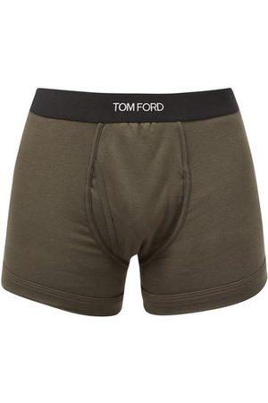 Tom Ford Logo-jacquard Cotton-blend Jersey Trunks - Mens - Dark Khaki