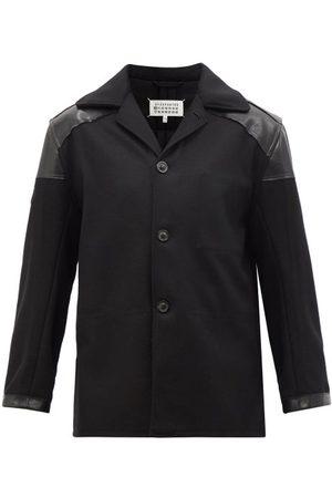 Maison Margiela Leather-trimmed Wool-blend Single-breasted Jacket - Mens