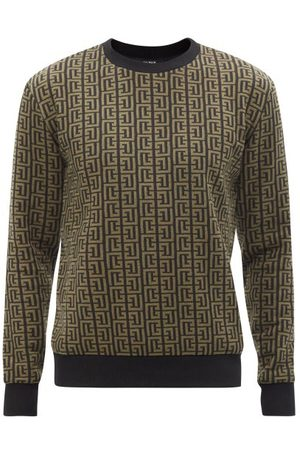 Balmain Men Sports Hoodies - Monogram-jacquard Cotton-blend Sweatshirt - Mens