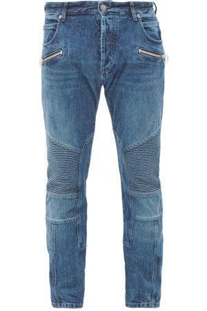 Balmain Ribbed-panel Slim-leg Jeans - Mens