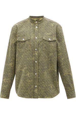 Balmain Men Shirts - Monogram-jacquard Cotton-blend Denim Shirt - Mens