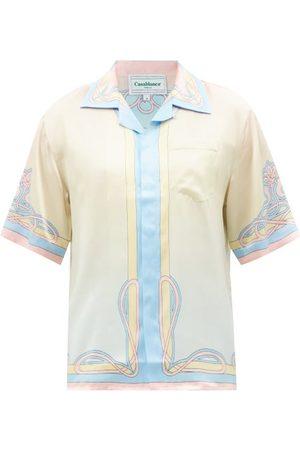 Casablanca Men Short sleeves - Short-sleeve Palace-print Silk-satin Shirt - Mens