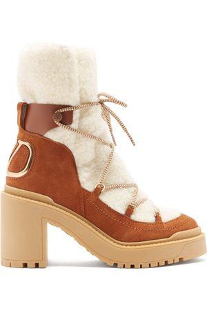 VALENTINO GARAVANI Women Boots - V-logo Suede And Shearling Boots - Womens - Multi