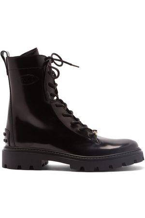 Tod's Logo-plaque Leather Boots - Womens