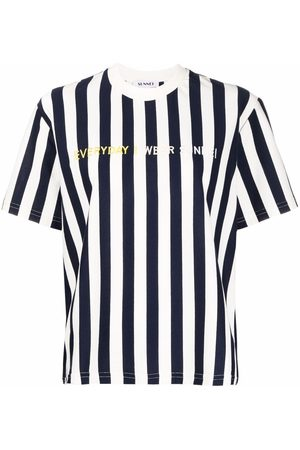 Sunnei Women T-shirts - Embroidered-logo striped T-shirt