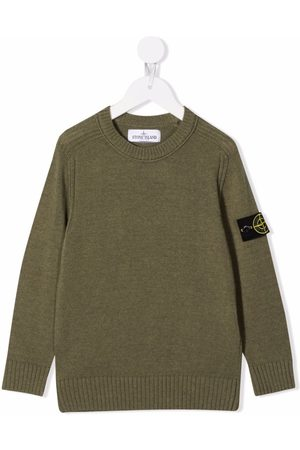 Stone Island Boys Sweaters - Logo-patch knitted jumper