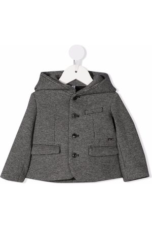 Emporio Armani Kids Coats - Checked single-breasted coat - Grey