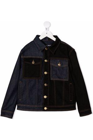 Balmain Kids Girls Denim Jackets - Panelled button-up denim jacket