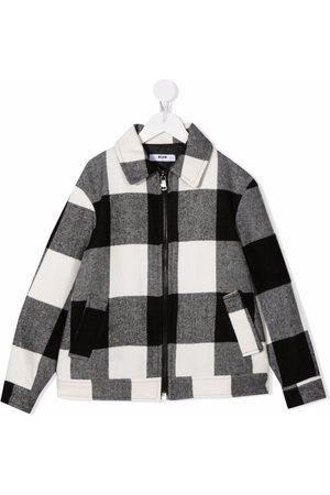 MSGM Kids Gingham check zip-up coat - Grey
