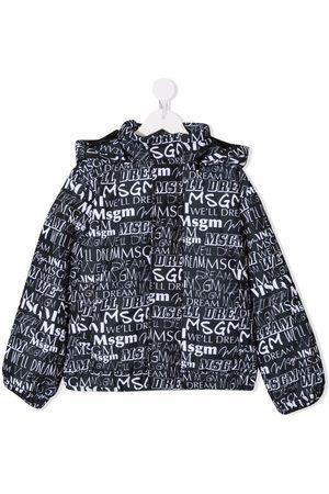 MSGM Kids Boys Puffer Jackets - Logo and slogan-print puffer jacket