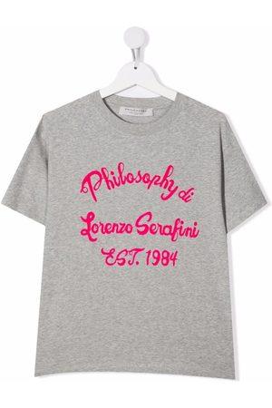 Philosophy Di Lorenzo Serafini Kids Short Sleeve - TEEN logo-print short-sleeved T-shirt - Grey