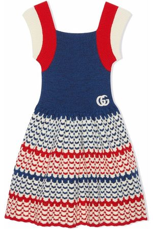 Gucci Kids Girls Knitted Dresses - Striped knitted flared dress