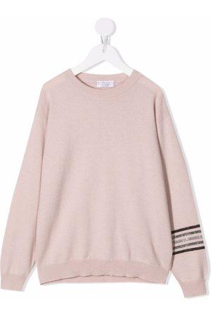 Brunello Cucinelli Kids Girls Long sleeves - Long-sleeve knitted top