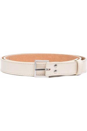 MARTINE ROSE Men Belts - Buckled leather belt - Neutrals