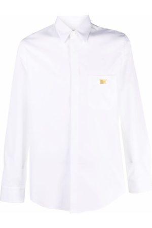 Fendi Men Long sleeves - Logo-plaque long-sleeve shirt