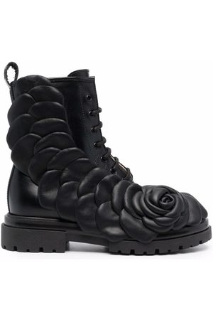 Florens Girls Ankle Boots - Floral embossed lace-up boots