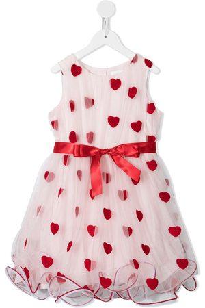 Charabia Sleeveless heart-print tulle dress