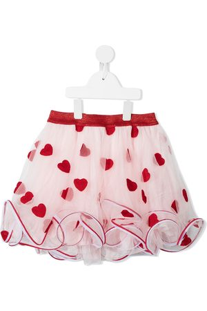 Charabia Girls Skirts - Heart-embroidered tulle-layered skirt
