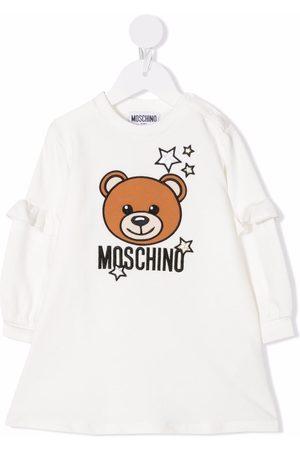 Moschino Kids Baby Casual Dresses - Teddy bear-print sweater dress