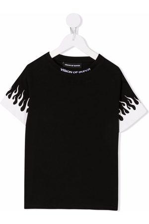 Vision Of Super Kids Boys Short Sleeve - Flame-print short-sleeved T-shirt