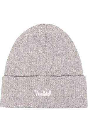 Woolrich Men Beanies - Embroidered-logo ribbed-knit beanie - Grey