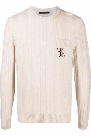 Billionaire Embroidered-logo wool jumper - Neutrals