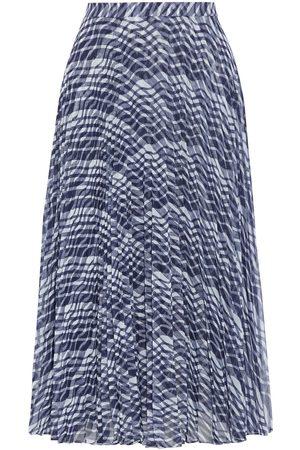 ST. JOHN Women Printed Skirts - Woman Pleated Printed Chiffon Midi Skirt Navy Size 10