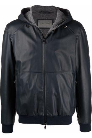 Corneliani Men Leather Jackets - Lambskin hooded zip-up jacket
