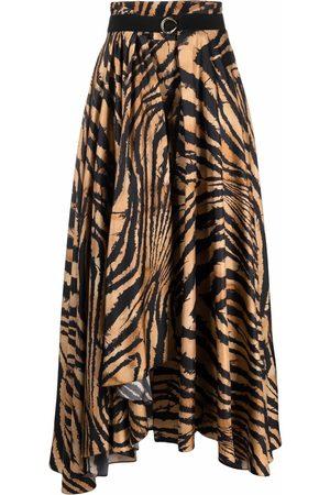 Roberto Cavalli Women Printed Skirts - Tiger-print belted skirt