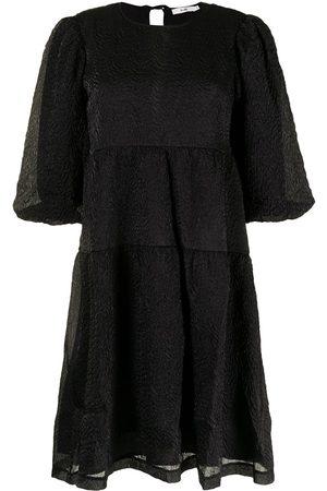 b+ab Textured puff-sleeve dress